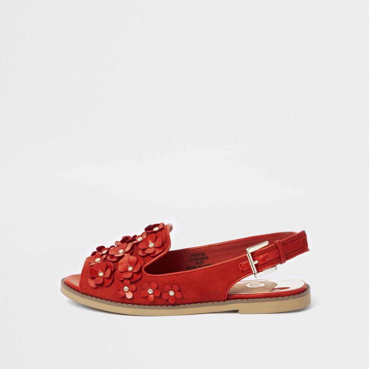 Red 3D flower slingback peep toe loafers