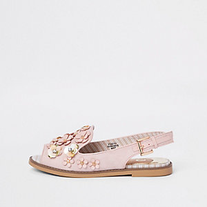 Pink 3D flower slingback peep toe loafers