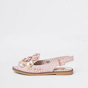 Roze slingback peeptoe loafers met 3D bloem