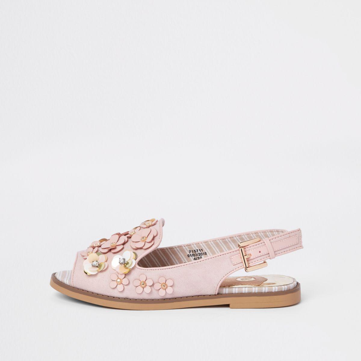 Pink 3D flower slingback peep toe loafers