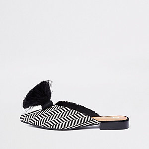 Black textile tassel pointed backless loafers
