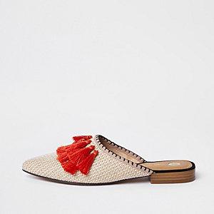 Oranje puntige loafers zonder hiel met kwastjes