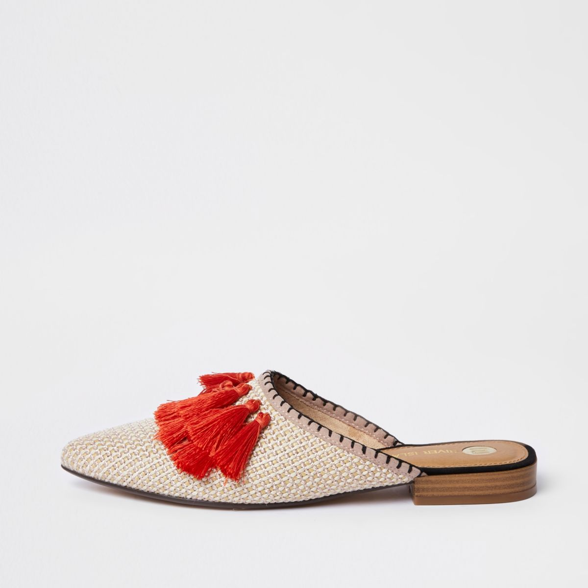 Orange tassel pointed backless loafer