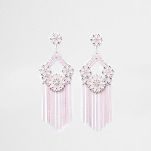 Light pink floral tassel drop earrings