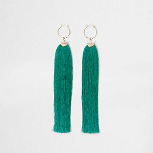 Turquoise tassel drop hoop earrings