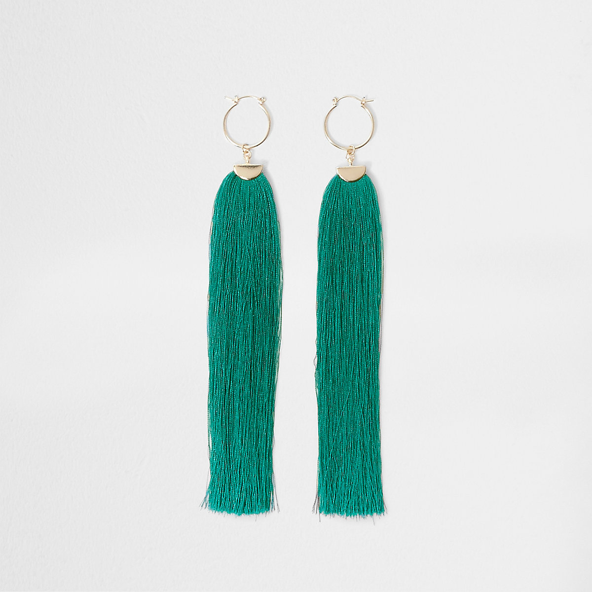 Turquoise tassel drop hoop earrings