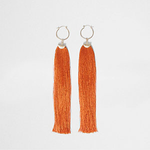 Orange tassel drop hoop earrings