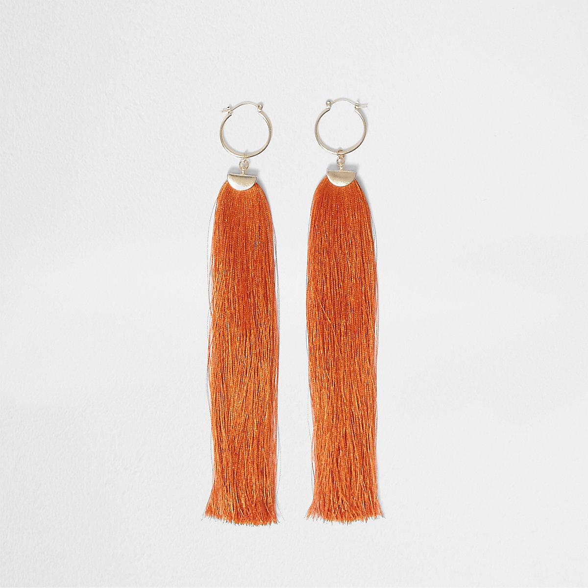 Orange tassel drop hoop earrings