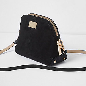 Black mixed texture kettle cross body bag