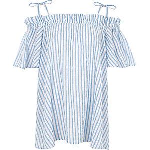 Blaues, gestreiftes Bardot-Oberteil mit Rüschen
