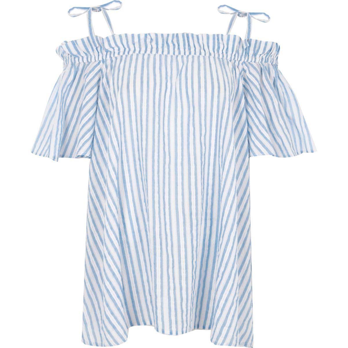 Blue stripe bardot frill bow shoulder top