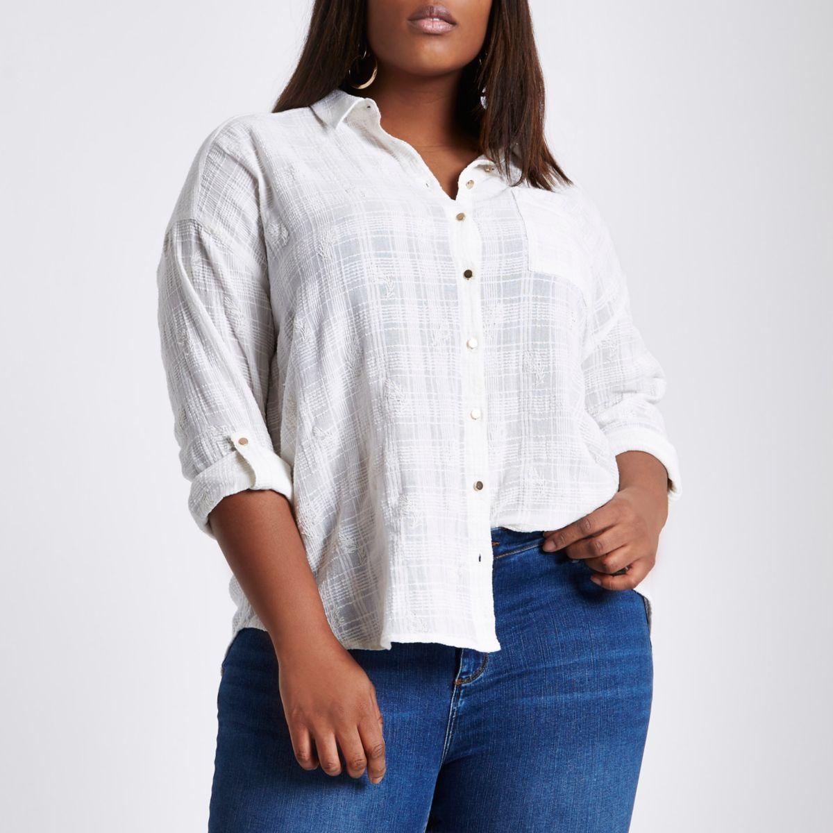 Plus white broderie long sleeve shirt