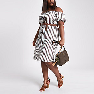 Plus beige stripe belted bardot dress