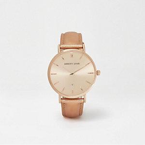 Abbott Lyon – Montre en cuir or rose effet métallisé