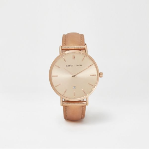 River Island - Metallic rose gold leather Abbott Lyon watch - 1