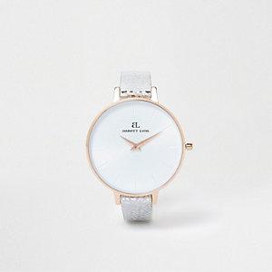 Silver tone Abbott Lyon leather strap watch