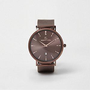 Abbott Lyon - Koperbruin horloge met bandje van mesh