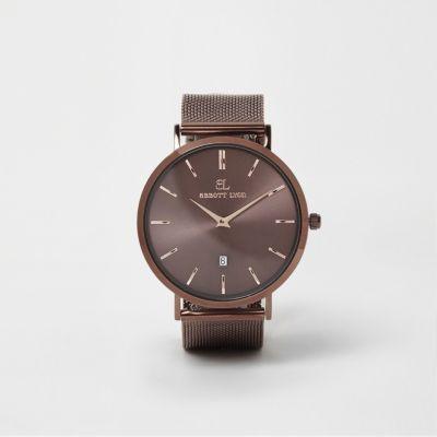 Copper brown Abbott Lyon mesh strap watch & Watches For Women | Ladies Watches | River Island