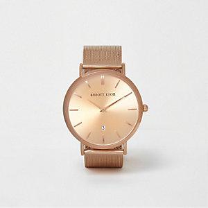 Abbott Lyon – Montre doré rose avec bracelet tissé