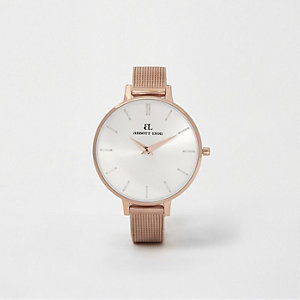 Rose gold plated Abbott Lyon slim mesh watch