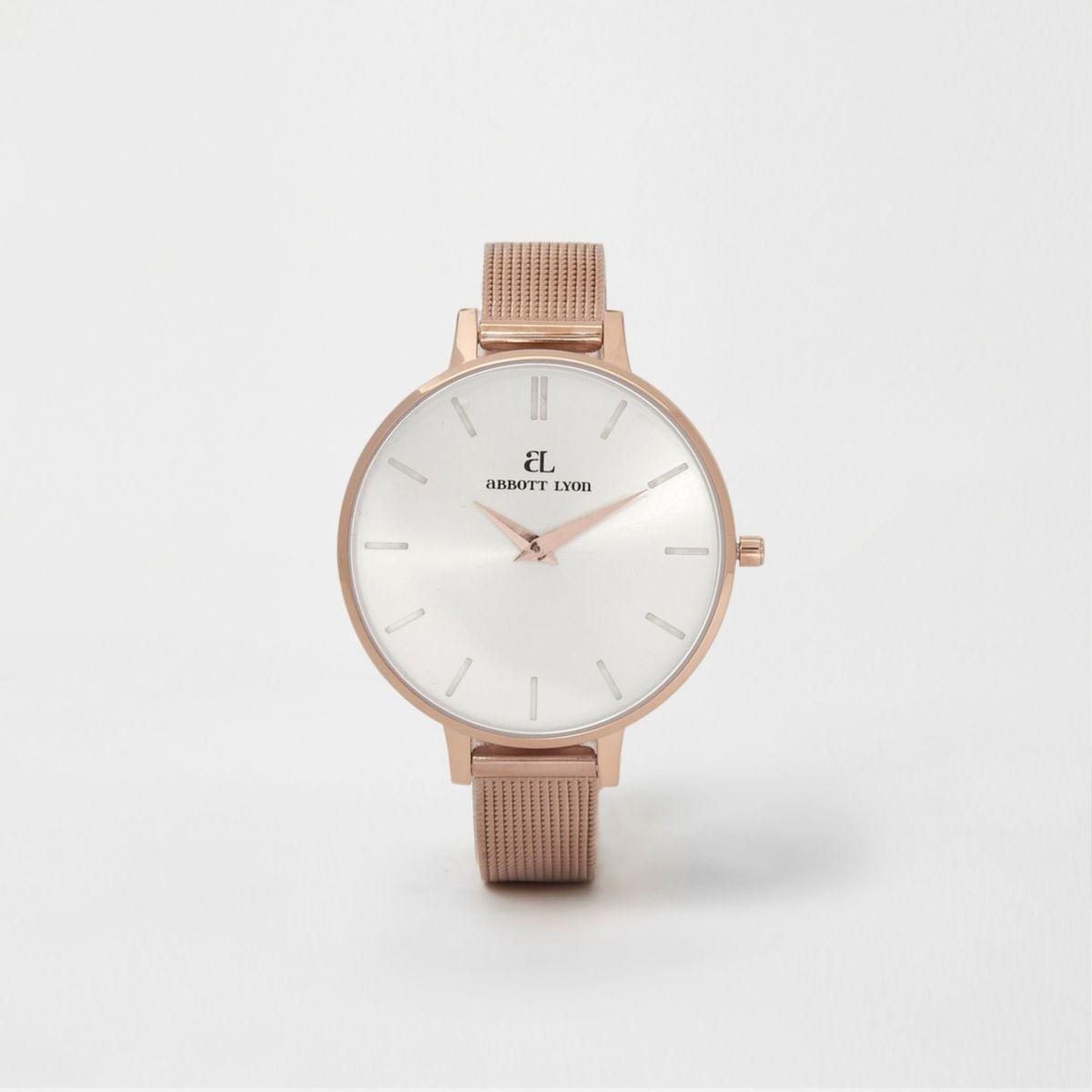 Rose gold plated Abbott Lyon slim mesh watch