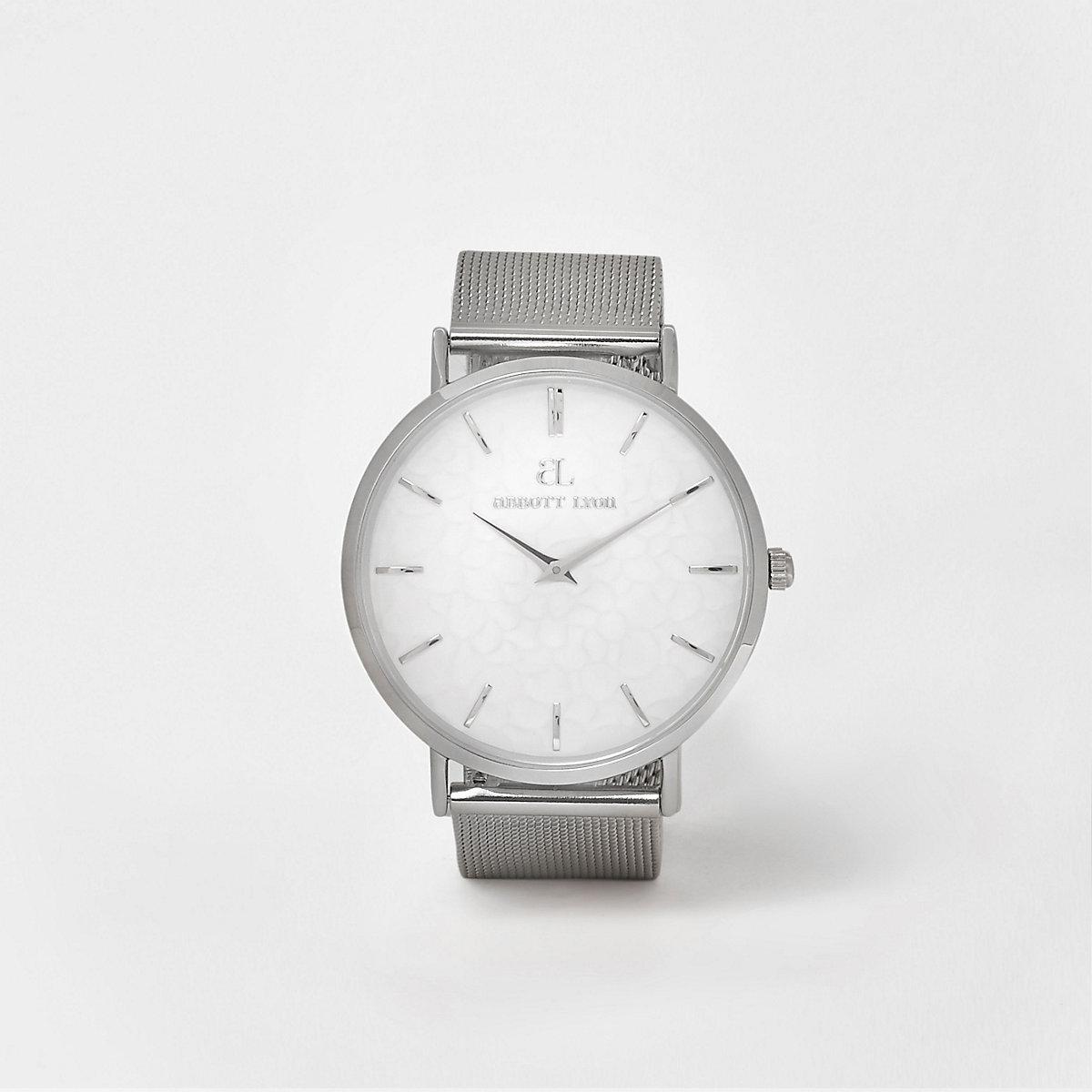 Silver plated Abbott Lyon mesh strap watch