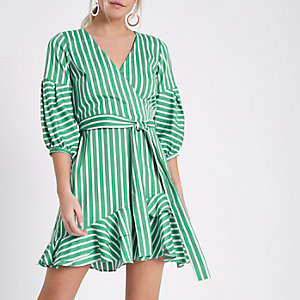 Petite green stripe wrap frill hem dress