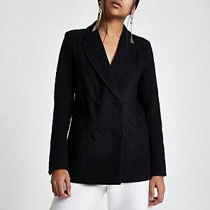 Petite – Blazer noir croisé texturé