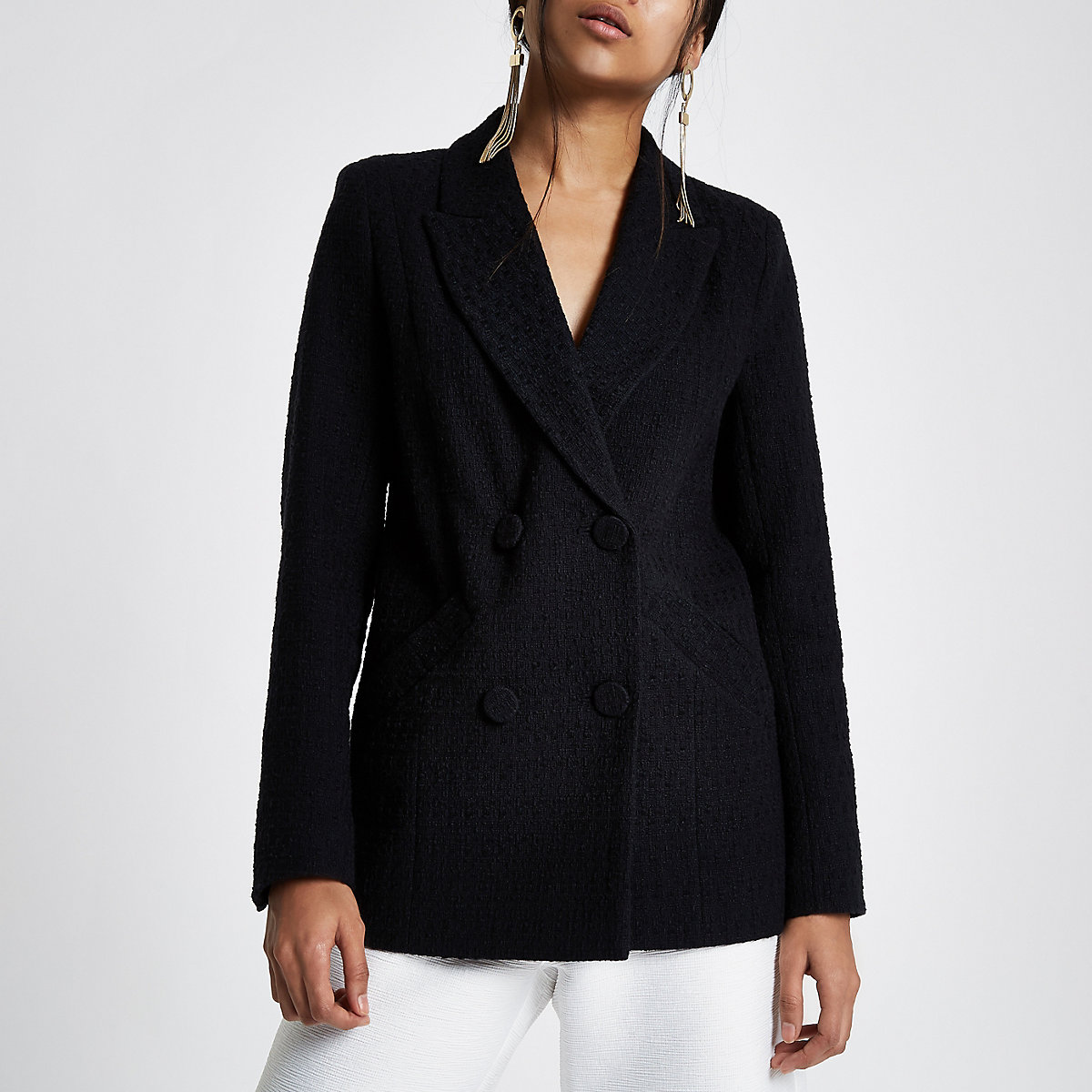 Petite black textured double breasted blazer