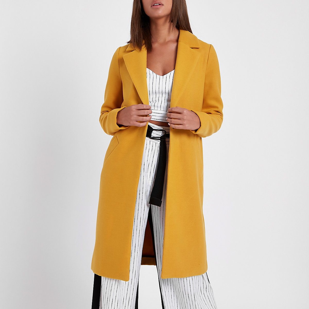 Mustard yellow tailored coat