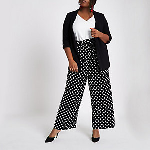 Plus black polka dot belted wide leg trousers
