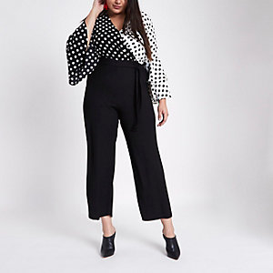 Plus black polka dot wide leg wrap jumpsuit