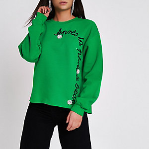 "Grünes Sweatshirt ""apres la"" mit Brosche"