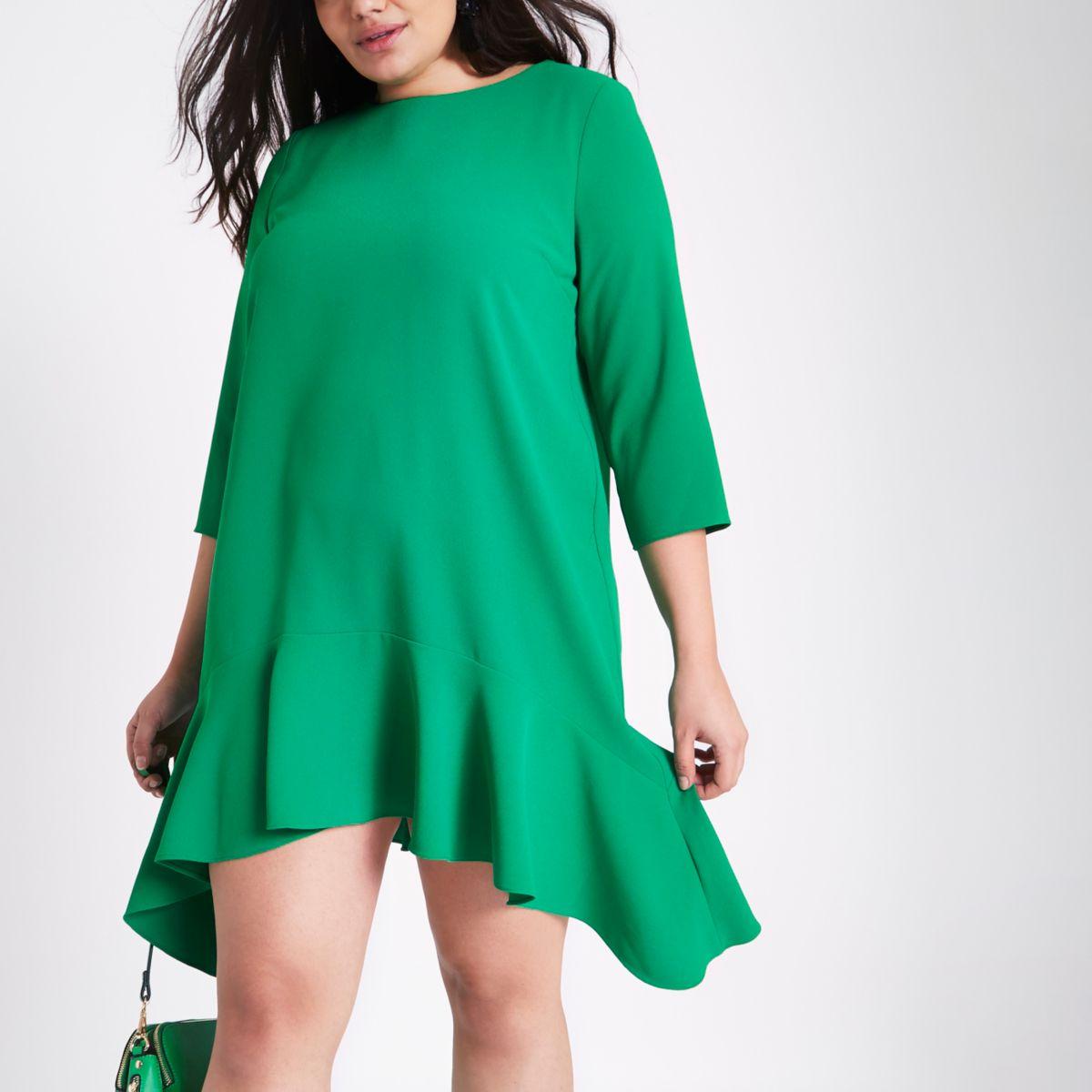 Plus green frill peplum hem swing dress
