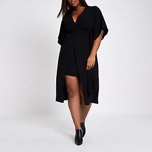 Plus black wrap kimono sleeve midi dress