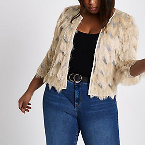 Plus cream fringed jacket
