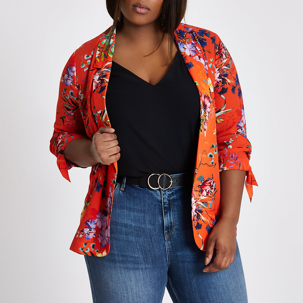 Plus orange floral print ruched sleeve blazer