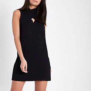 Black cross neck sleeveless swing dress