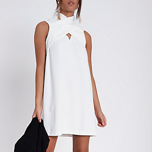 Cream wrap neck sleeveless swing dress