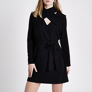 Black wrap neck long sleeve swing dress