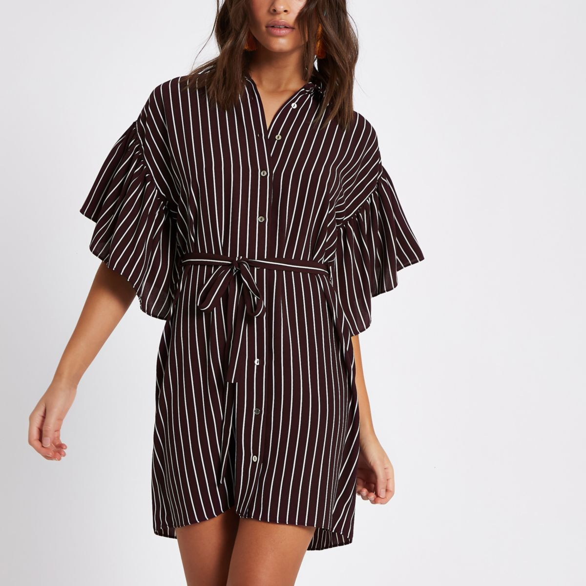Red stripe cold shoulder frill shirt dress