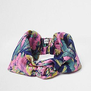 Pink floral metallic jacquard headband