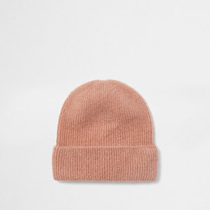 Pink brushed rib knit beanie hat