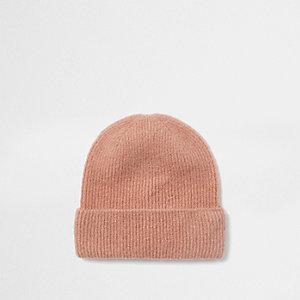 Bonnet rose côtelé brossé