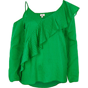 Green ribbed asymmetric bardot frill top