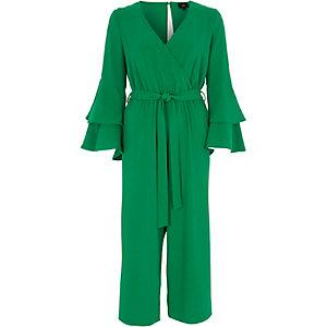 Green wrap frill sleeve culotte jumpsuit