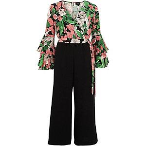 Combi-short jupe-culotte croisé à fleurs rose avec volant