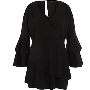 Black wrap front frill skort playsuit