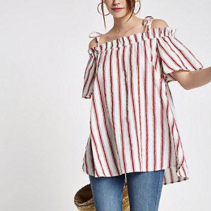 Red stripe bardot frill bow shoulder top