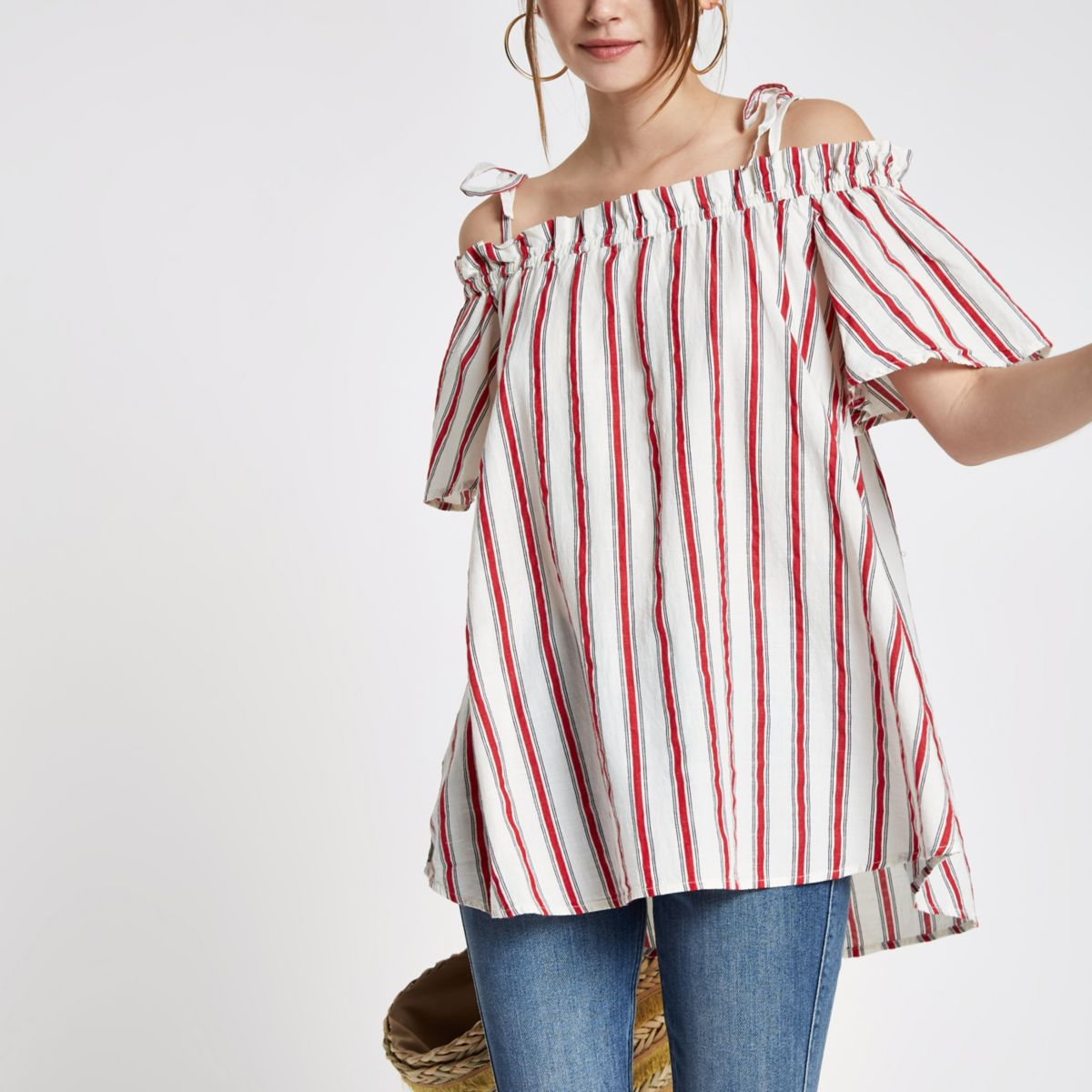 Red stripe bardot frill bow shoulder top
